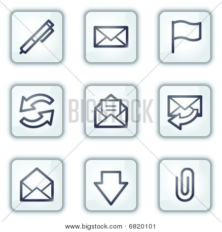 E-mail web icons, white square buttons series