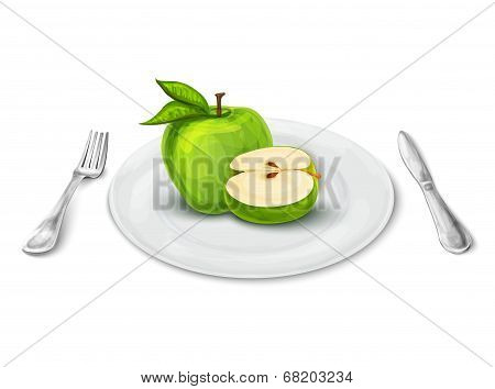 Apple on plate