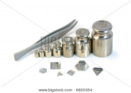 Steel Weights And Tweezers