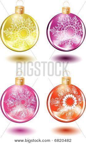 Conjunto de bolas de vidro de Natal bonitos com decoração