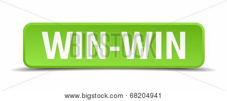 Win-win Green 3D Realistic Square Isolated Button