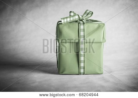 Green Gift Box Tied With Bow