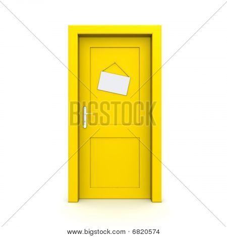 Closed Yellow Door With Dummy Door Sign