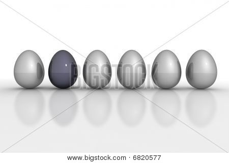 Six Metallic Eggs In A Line - Grey And Black