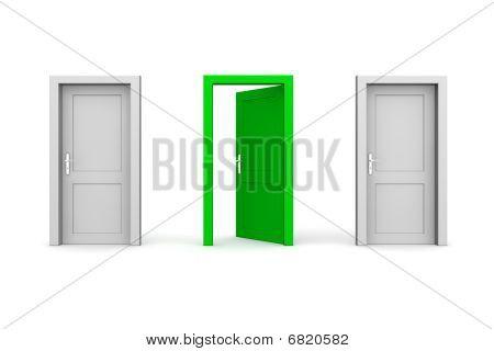 Três portas - cinza e verde - dois fechado, um abrir