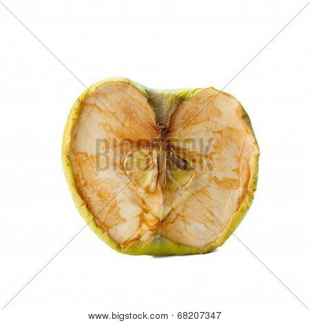 rotten apple on a white background.