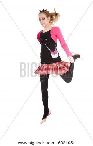 Jumping Teenager Girl