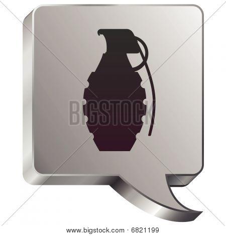 Hand grenade on speech bubble