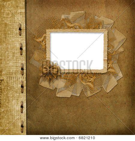 Grunge carátula del álbum o cartera en el fondo del periódico