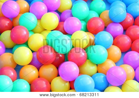 Plastic multiple color balls children play field.