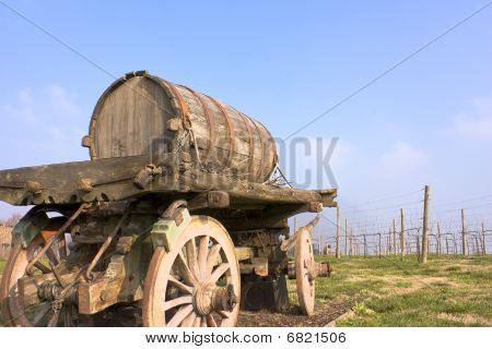 Old Cart With Wine Barrel