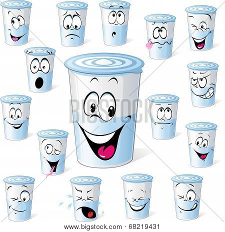 Dairy Product In Plastic Cup - Funny Cartoon With Many Facial Expressions Isolated On White Dairy  Y