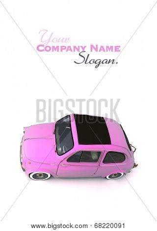 Aerial shot of a soft top pink European vintage car