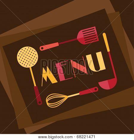 Restaurant menu background in flat design style.