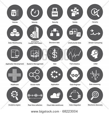 big data icons, data analytics icons