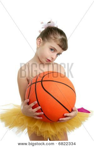 Ballerina Little Girl With Basketball Ball