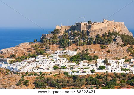 Lindos, Castle Above On The Greek Island Of Rhodes