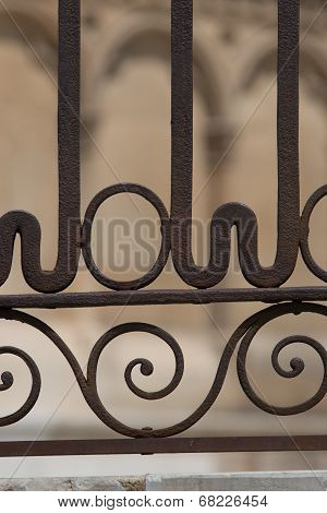 Closeup View Of Hte Forged Barrier In The Gothic Cathedral Of Leon