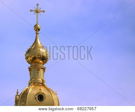 Golden dome of St.Peter and Paul cathedral.Russia