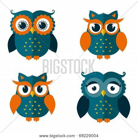 Set Of Owls Isolated On White. Vector Illustration.