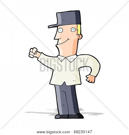cartoon man punching air