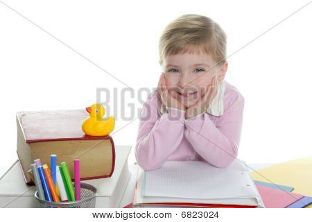 Blond Little Student Girl Smiling
