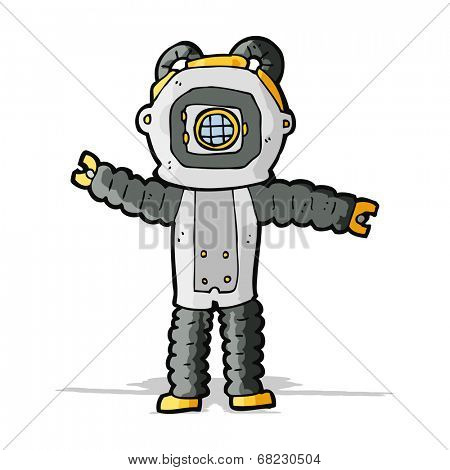 cartoon deep sea diver