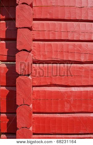 Red, Hand Carved Log Wall, Corner Joint, Texture Material.