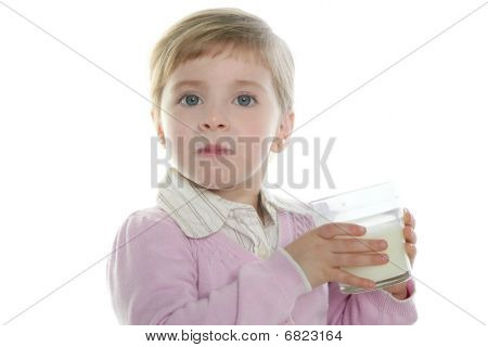 Blond Little Girl Drinking Glass Of Milk