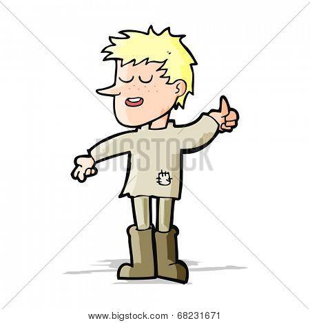 cartoon poor boy with positive attitude