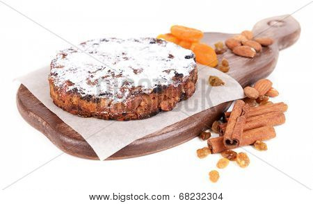 Delicious cake panforte isolated on white