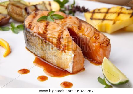 Grilled Teriyaki Salmon Steak