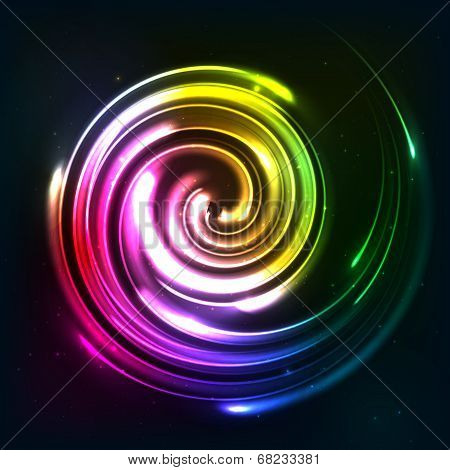 Rainbow colors shining neon lights twirl
