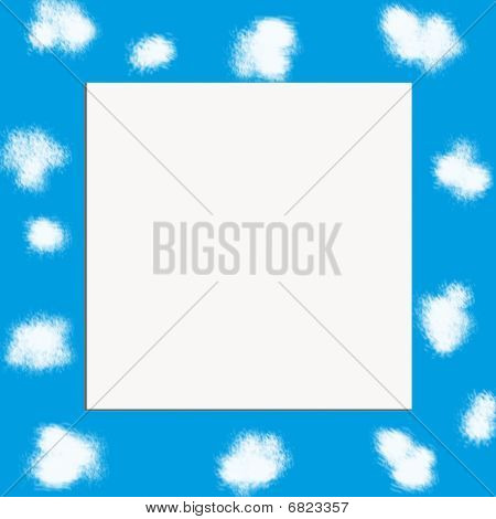 Blue sky with clouds frame