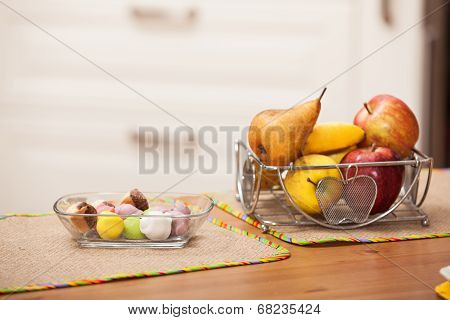 Sweets And Fruits On The Table