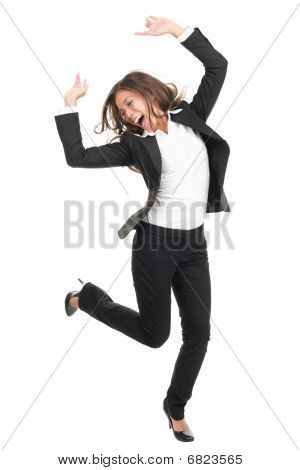 Ecstatic Businesswoman In Suit Dancing