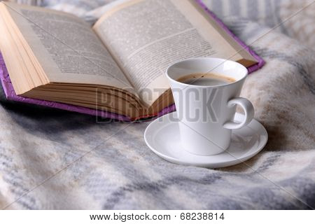 Cup of coffee on plaid with book