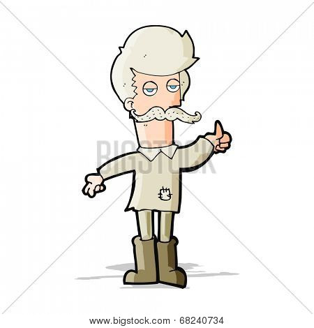 cartoon old man in poor clothes