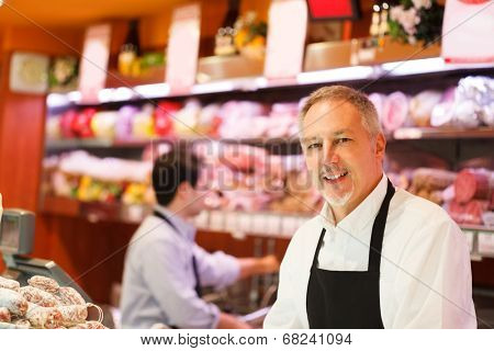 Men at work in a grocery store