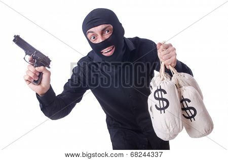 Funny criminal with gun isolated on white