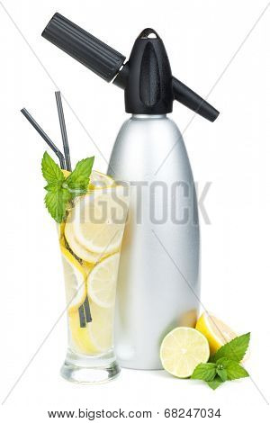 Glass with homemade lemonade and siphon. Isolated on white background