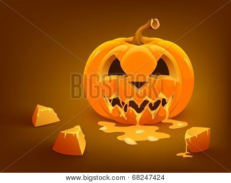 Halloween pumpkin isolated on white background. Vector illustration.