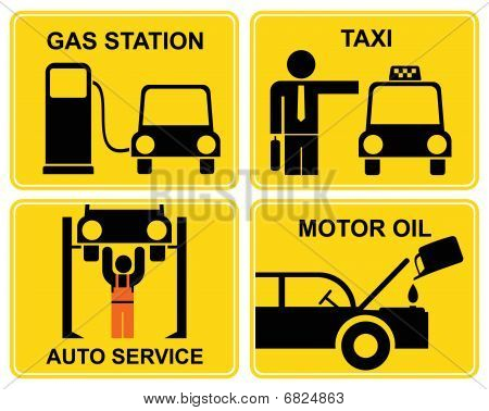 Autoservice, fuel station, change motor oil, taxi - signs