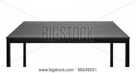 Black table. Wooden board, metal legs.