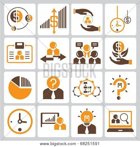 financial icon and investment icons, orange color theme