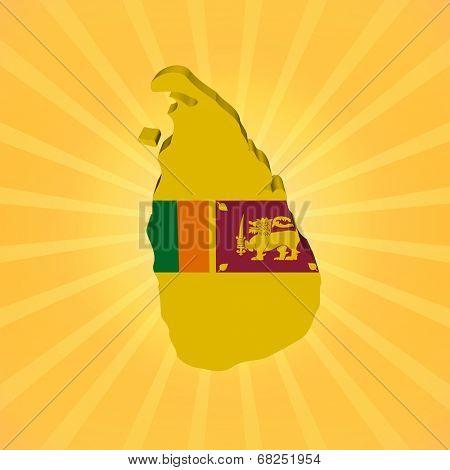 Sri Lanka map flag on sunburst illustration