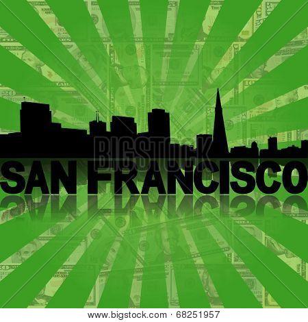 San Francisco skyline reflected with green dollars sunburst illustration
