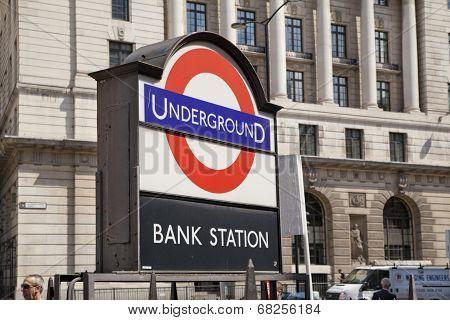 LONDON, UK - JUNE 30, 2014  Bank of England  Square and underground station