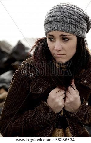 Unhappy Woman Feeling Cold And Lonely