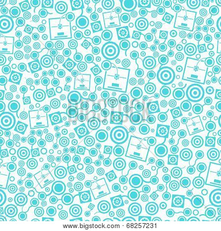 3D Printer Blue Seamless Pattern On The White Background
